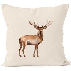 Kissenbezug Weihnachten Winter Hirsch Elch Geweih Watercolor Deer Weihnachtskissen Vintage Autiga® Baumwolle