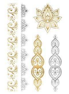 Flash Tattoo Metallic Temporary Einmal Tattoo Klebe Gold Ornamente Blume Armband Kette