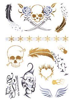 Flash Tattoo Metallic Temporary Einmal Tattoo Klebe Gold Totenkopf Feder Vogel Flügel Herz Feuer Armband Kette