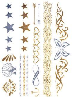 Flash Tattoo Metallic Temporary Einmal Tattoo Klebe Gold Anker Stern Infinity Schmetterling Herzen Muschel Pfeil Kette Armband Henna