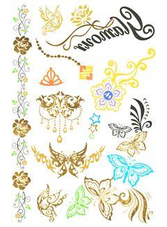 Flash Tattoo Metallic Temporary Einmal Tattoo Klebe Gold Schmetterling Rose Blume Kette Armband Henna
