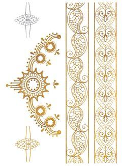 Flash Tattoo Metallic Temporary Einmal-Tattoo Henna Klebe Gold Ornamente Armband Kette