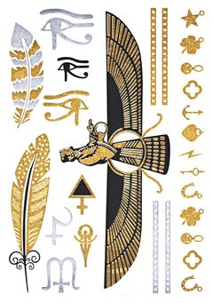 Flash Tattoo Metallic Temporary Einmal-Tattoo Klebe Gold Feder Ornamente Armband Kette Henna