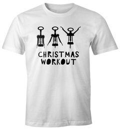 Herren T-Shirt Weihnachten lustig Christmas Workout Flaschenöffner Korkenzieher Wein trinken Fun-Shirt Moonworks®