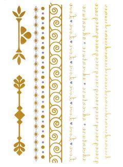Flash Tattoo Metallic Temporary Einmal-Tattoo Klebe Gold Schriftzug Ornamente Armband Kette