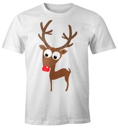 Herren T-Shirt Rentier Rote Nase Fun-Shirt Moonworks®
