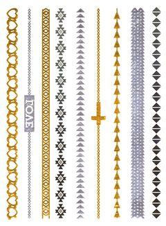 Flash Tattoo Metallic Temporary Einmal-Tattoo Klebe Gold Kette Schrift Armband Kreuz Henna