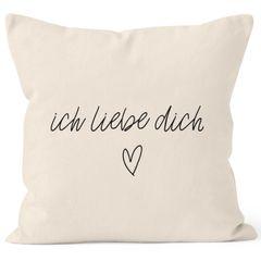Kissenbezug Kissenhülle Ich liebe Dich Liebe Love Geschenk Deko-Kissen Baumwolle MoonWorks®