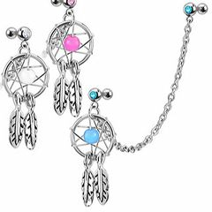 Traumfänger Ohr Piercing Stecker mit Kette Tragus Helix Cartilage Dream Catcher Feder