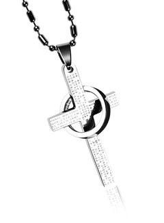 Halskette Herren Edelstahl Kette Kugelkette Anhänger Kreuz Ring