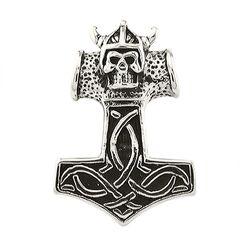 Anhänger Edelstahl Halskette Lederkette Kugelkette Gothic Thors Hammer Herren Damen