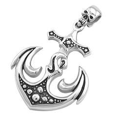 Kreuz Anhänger Kette Totenkopf Anker Halskette Lederkette Gothic Kugelkette Herren Damen