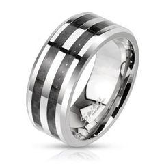 Herren Ring Edelstahl Karbon Einlage Carbon Inlay Schwarz Bandring