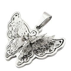 Schmetterling Anhänger Halskette Lederkette Kugelkette Butterfly Edelstahl