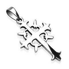Anhänger Kreuz Edelstahl Halskette Lederkette Kugelkette Damen Herren Tribal