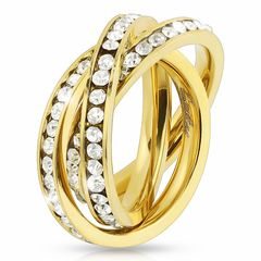 Damenring 3 in1 Triple Ring Damen dreifach dreier Ring gold Zirkonia Verlobungsring