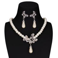 Brautschmuck Schmuckset Perlen Collier Kette Ohrringe Kristall Schmetterling Hochzeit Tropfen
