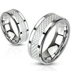 Edelstahl Ring Carbon Inlay Herren Damen silber