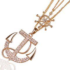 Damen Halskette Anker Anchor Strass Zirkonia Steuerrad Ruder Kristall