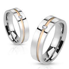 Ring Damenring Verlobungsring Hochzeit Edelstahl Gold Inlay Zirkonia Kristall
