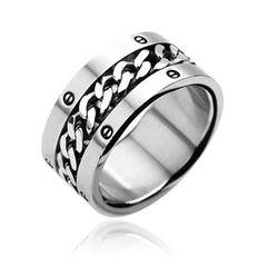 Herren Damen Edelstahl Ring silber gold Ketten Inlay Kettenring Drehring Spinner