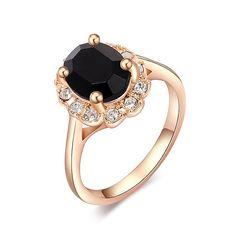 Damen Ring Solitärring Verlobungsring 14kt vergoldet Zirkonia Kristall Halo Ring Rosègold
