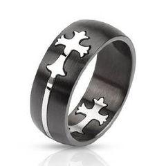 Ring Edelstahl Herren Damen Celtic Cross Keltisches Kreuz Gewölbt Bandring