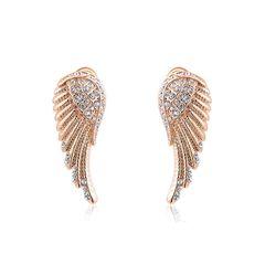Damen Ohrstecker Ohrringe Flügel Wings Engelsflügel vergoldet Zirkonia Kristall