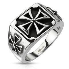 Ring Edelstahl Herren Massiv Biker Eisernes Kreuz Bandring Celtic Siegelring