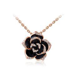 Damen Halskette Blume Blüte Flower Kette Blumen Anhänger vergoldet Zirkonia schwarz
