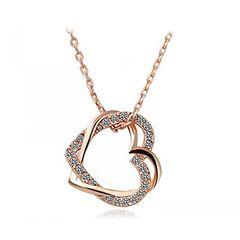 Damen Halskette Herz Kette Heart 2 Herzen Anhänger vergoldet Geschenk Herzkette