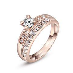 Damen Ring 2er Ring Solitärring 2in1 Verlobungsring vergoldet Zirkonia Kristall Antragsring