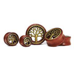 Flesh Tunnel Holz Lebensbaum Wood 12-30 mm Ear Plug Sattle Fit Double Flared Organic Tree of Life