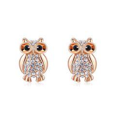 Eulen Ohrringe Ohrstecker Eule Owl vergoldet Zirkonia Kristalle Geschenk Damen