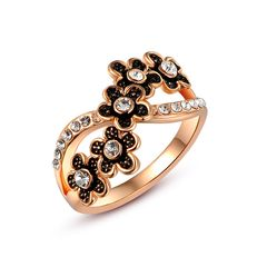 Ring Damen Infinity Unendlichkeit Blume Silber Gold Zirkonia Kristall Strass Flower