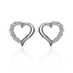 Zirkonia Ohrstecker 925 Sterling Silber Damen Ohrringe Herz Heart Geschenk