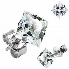 Zirkonia Ohrstecker 925 Sterling Silber eckig Damen Herren Ohrringe schwarz klar