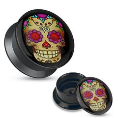 Acryl Plug Tunnel mexikanischer Totenkopf Sugar Skull Retro Screw Fit Rockabilly Piercing