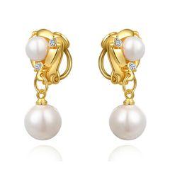 Perlen Ohrclips Fake Ohringe Pearl Perle Damen Clip On Non-Piercing