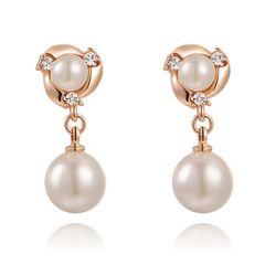 Perlen Ohringe Ohrstecker Pearl Perle Damen Perlenohrstecker 18 Karat vergoldet