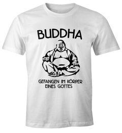 Buddha - Gefangen im Körper eines Gottes Herren T-Shirt Fun-Shirt Moonworks®
