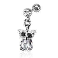 Ohr Piercing Eulen Stecker Tragus Helix Cartilage Anhänger Eule Owl Barbell