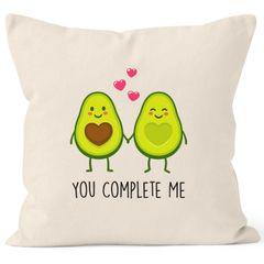 Kissen-Bezug Avocado - You complete me Kissen-Hülle Deko-Kissen Baumwolle Valentinstagsgeschenk MoonWorks®