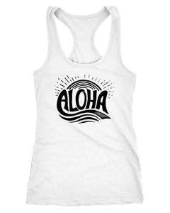Damen Tank-Top Aloha Wellen Surfing Sommer Racerback Neverless®