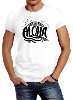 Herren T-Shirt Aloha Wellen Surfing Sommer Slim Fit Neverless®