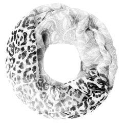 leichter Damen XXL Schlauchschal Infinity Loop Schal Rundschal Blumen Leoparden-Muster Leo-Print Muster Autiga®