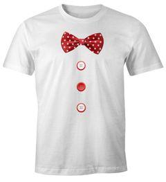 Herren T-Shirt Fliege Knöpfe Schleife Clown Fasching Fastnacht Karneval Kostüm Moonworks®