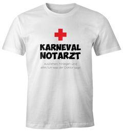 Herren T-Shirt Fasching Karneval Notarzt Faschingsshirt lustig Fun-Shirt Moonworks®