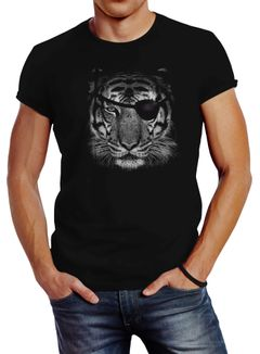 Herren T-Shirt Tiger Eye Patch Tigerkopf Slim Fit Neverless®