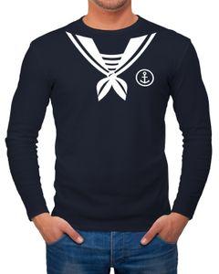 Herren Long-Sleeve Matrose Matrosin Sailor Fasching Fastnacht Kostüm Karneval Verkleidung lustig  Langarm-Shirt Moonworks®